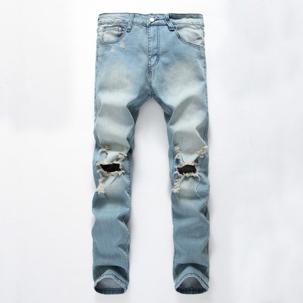 2018 magas minőségű farmer Férfi farmerek Stretch Destroyed - Férfi ruházat