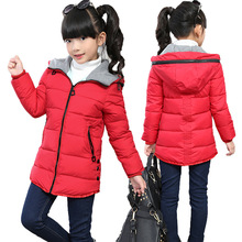 Middle Childhood Cotton-padded Jacket Kids Girls Medium and Long Cotton-padded Clothes 2016 Baby Winter Coat