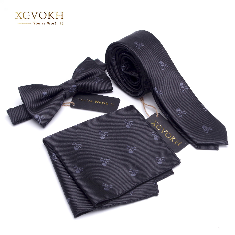 3 PCS neck tie Set Men Bow Tie and cravat Bowtie Slim Necktie Skeleton Man ties for men 1200 needle Fashion gravata dress