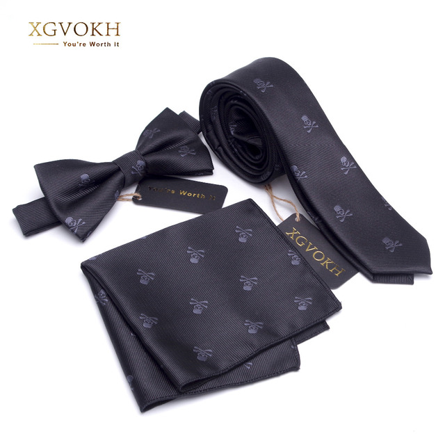 3 PCS neck tie Set Men Bow Tie and cravat Bowtie Slim Necktie Skeleton Man ties for men 1200 needle Fashion gravata dress