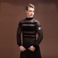 New Latin Shirt Men Elastic Black Gauze Original Design Shirts Men Adult Modern Chacha Latin Ballroom Dance Dress For Men BL1306
