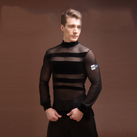 New Latin Shirt Men Elastic Black Gauze Original Design Shirts Men Adult Modern Chacha Latin Ballroom Dance Dress For Men BL1303