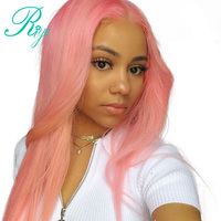 Полный розовый цвет бразильский Синтетический Frontal шнурка волос Человеческие волосы Искусственные парики Ombre Человеческие волосы парик дл