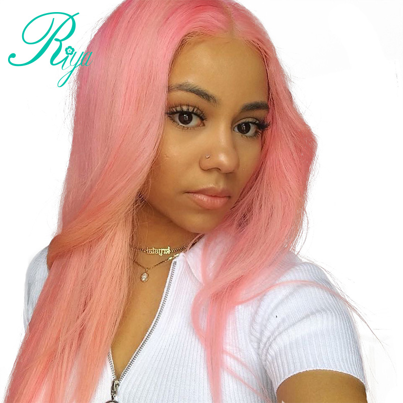 Full Pink Color Brazilian Lace Frontal Human Hair Wigs Ombre Human Hair Wig For Woman Pre Plucked Natural Hairline With BabyHair