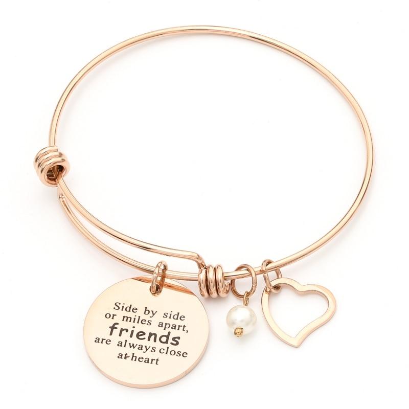 Silver Rose Gold Heart Charm Bangle Pearl Bracelets Friendship Spiritual Love Jewelry for Women Girls Mom Sister bangle