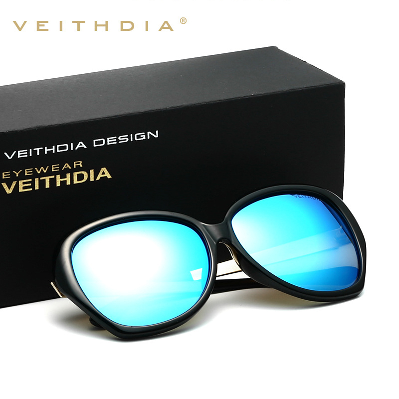 VEITHDIA TR90 Alloy Women's Classic Sun glasses Polarized Mirror Lens Luxury Ladies Designer Sunglasses Eyewear For Women 8012