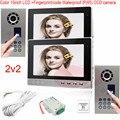 New Color 10inch TFT LCD Fingerprint Recognition Unlock Home Video Intercom Door phone System Outdoor Unit Waterproof(IP65)