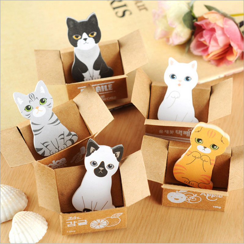 1pcs cute cat Sticky Notes Post Memo Pad kawaii stationery School Supplies Planner Stickers Paper Bookmarks