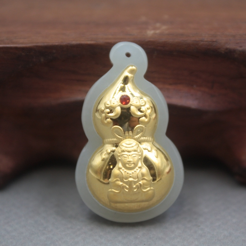 New 24K Yellow Gold Natural Jadeite Jade Women Men Gourd Kwan-Yin Bless Pendant 28x20mm