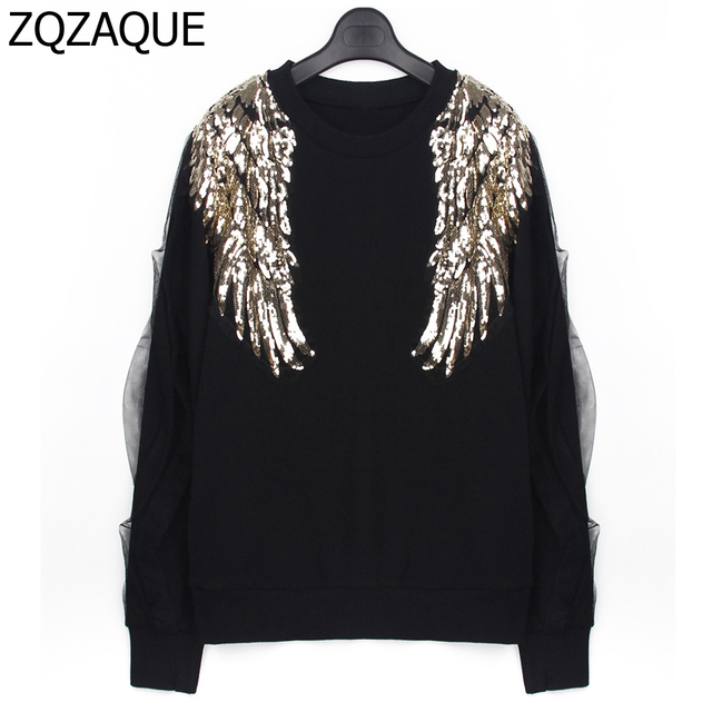 f1838f286 2018 Spring New Women's Sequined Angel Wings Pattern Hoodies Long Sleeve  Patchwork Mesh Black Color O-neck Sweatshirts SY995
