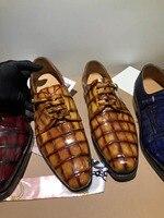 100% Мужская модная обувь из натуральной крокодиловой кожи с подкладкой из натуральной воловьей кожи, 2 цвета, Мужская обувь из крокодиловой к