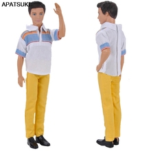 Male Doll-Clothes Pants Shirt White Yellow Barbie's for Ken Prince 1set Boyfriend 1/6