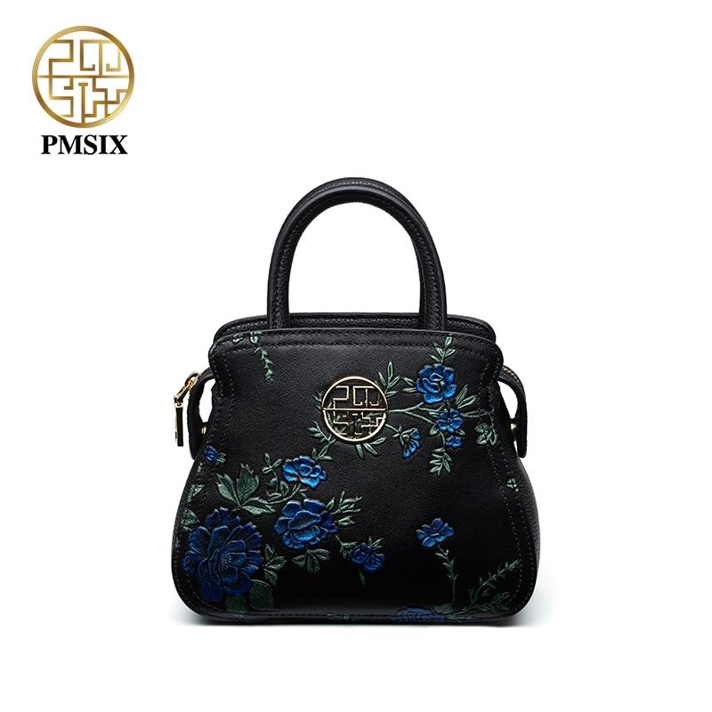 Pmsix designer brand famous in womens'bag Newest retro original genuine leather Casual handbag Patchwork shoulder bag  P110059