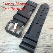 24 26 мм натуральный каучук ремешок для часов со специальным пряжки, Для PAM и спортивные часы, Бесплатная доставка