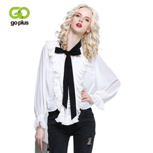 GOPLUS 2019 Spring White Chiffon Ruffles Blouse Women Lace up Bow neck Butterfly Sleeve Shirts Lady Party thin Blusas Female Top