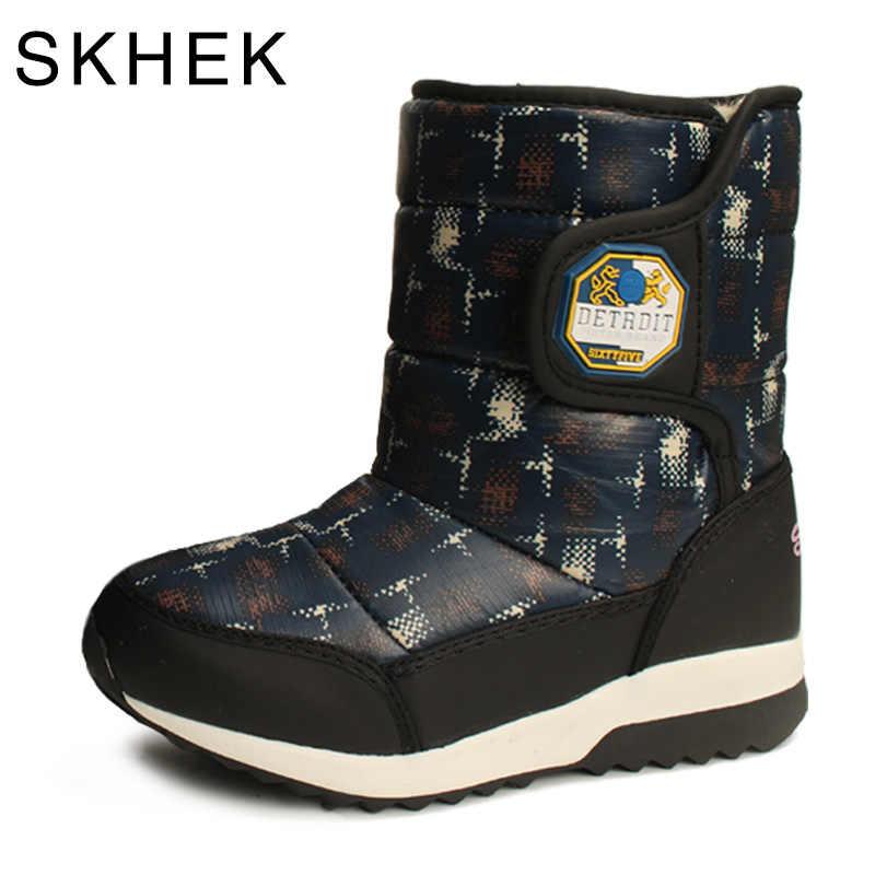 SKHEK 2018 nuevas botas de invierno para niños forro de lana de abrigo zapatos cómodos Niño de moda niños y niñas botas para Europa Tamaño 27-32
