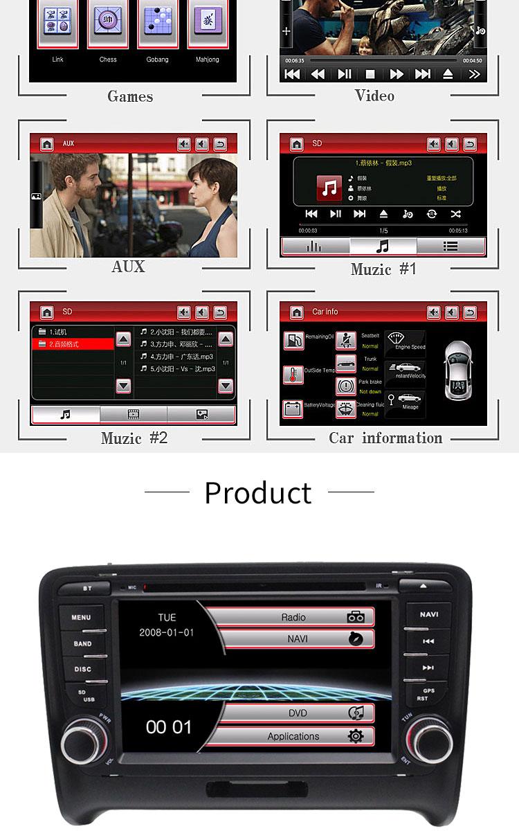 Cheap TOPBSNA 2 Din Car DVD Player For AUDI TT/TTS MK2 8J 2006-2012 GPS Navigaiton multimedia automotive dvd Auto Stereo Headunit USB 7