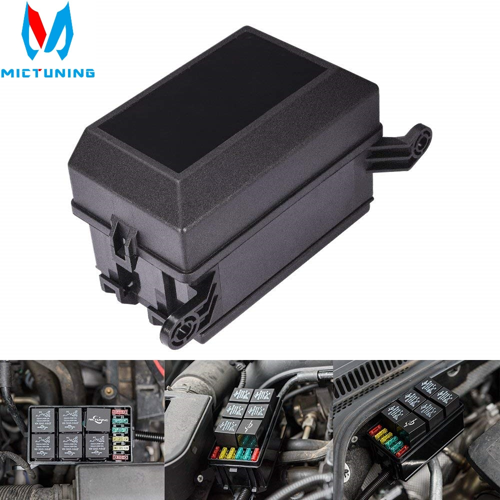 MICTUNING Car Fuse Box DC 12V 20A 6 Relay Block 5 Road For Nacelle Car Insurance Holder Automobile Durable