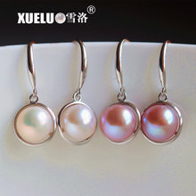 XUELUO 925 Sterling Silver Natural Genuine Cultured Freshwater Pearl Dangle Earrings Jewelry for lady snh aa beautiful new real genuine cultured 11 13mm edison round natural freshwater pearl necklace jewelry design free shipping
