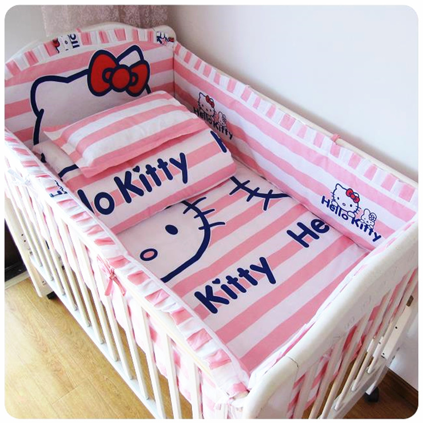 Baby Bed Set Bumper Cotton Beautiful Baby Bedding Set Pink Striped Cartoon Cat Comfort Cot Sheet Baby Girl Bedding Sets Bumpers contrast striped print bedding set