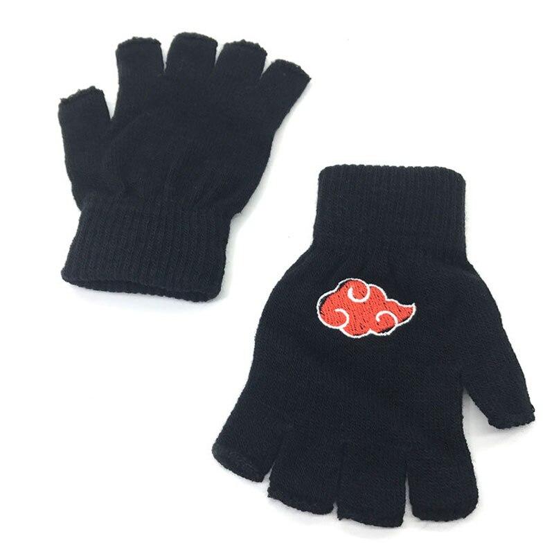 8b980b5de Fashion Unisex Gloves Fingerless Anime Naruto Akatsuki Red Cloud Knitting  Glove Winter Warm Wrist Mittens Halloween Cosplay Gift