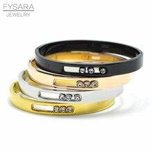FYSARA Brand Turnable Bangles for Women Men Gold-Color Slide Love Bracelets Black CZ Crystal Bangles Simple U Buckle Bangle