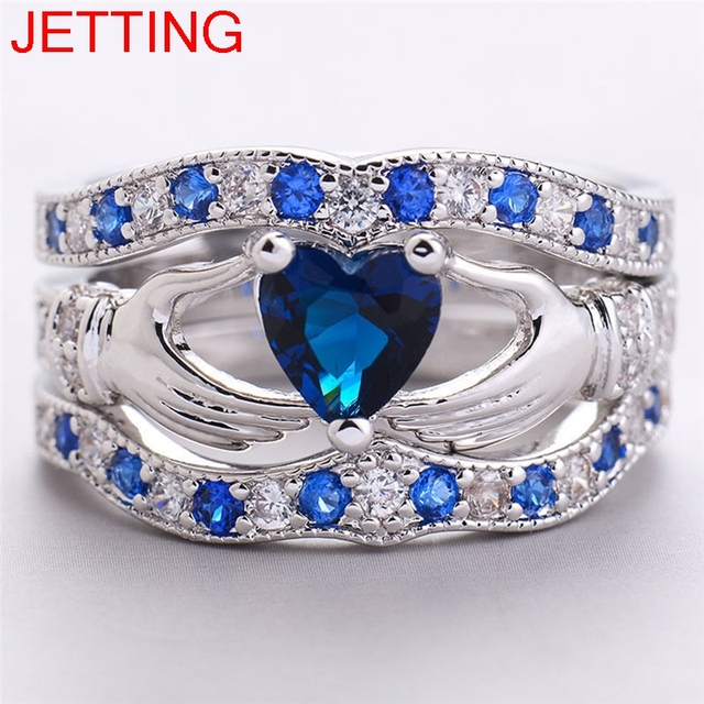 Claddagh Ring Design | Jetting 3pcs Love Design Crown Hand Heart Clah Duh Claddagh Ring Set