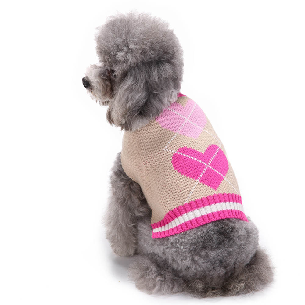 Small Dogs Sweater Clothes For Little Dogs Overalls Heart Pattern Pet Dog Puppy Cute Clothes Puppy Winter Sweater