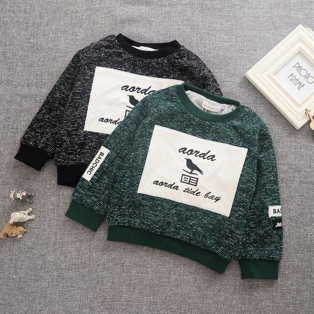 2016 зима новый стиль майка дети мальчик утолщение с длинным рукавом один шеи черный зеленый письмо печатные толстовки мальчиков верхней одежды 2-6 Т