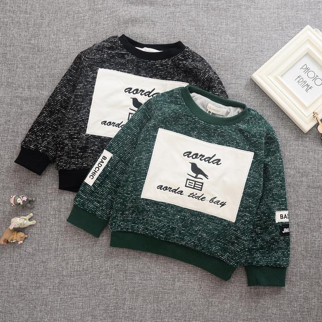 2016 inverno new style t camisa crianças menino espessamento de manga longa um pescoço preto verde letra impressa hoodies bebê meninos outwear 2-6 T