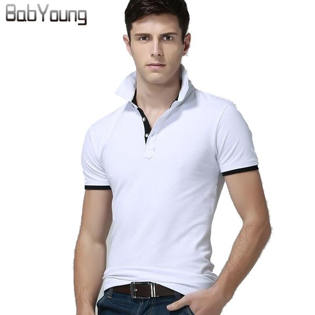 BabYoung 2017 Summer Men Polo Shirt Designer Solid Polos Cotton Short Sleeve Tops Jerseys Golftennis Men Fashion Shirt Plus Size