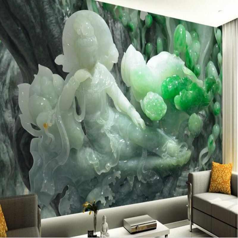 Beibehang Большой заказ обои Ю. Гуаньинь рельеф Fresco Спальня Гостиная диван ТВ фон декоративные