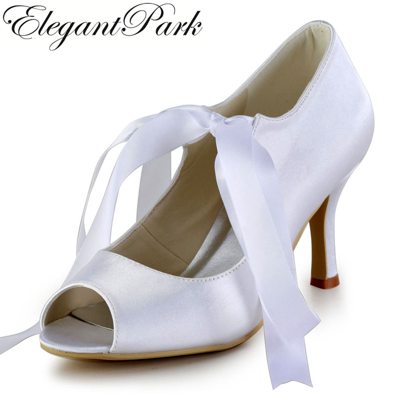 Women Mary-jane Shoes EP2078 Woman White Peep Toe Lace Up  High Heels Pumps Satin Wedding Shoes Women Bridal Shoes mary sterling jane algebra ii essentials for dummies
