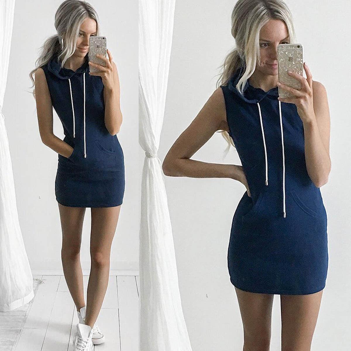 Women Sleeveless Hoodie Dress Party Evening Summer Short Mini Dress Pocket  Dress