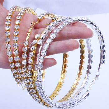 Rhinestone Big Hoop Earring  3