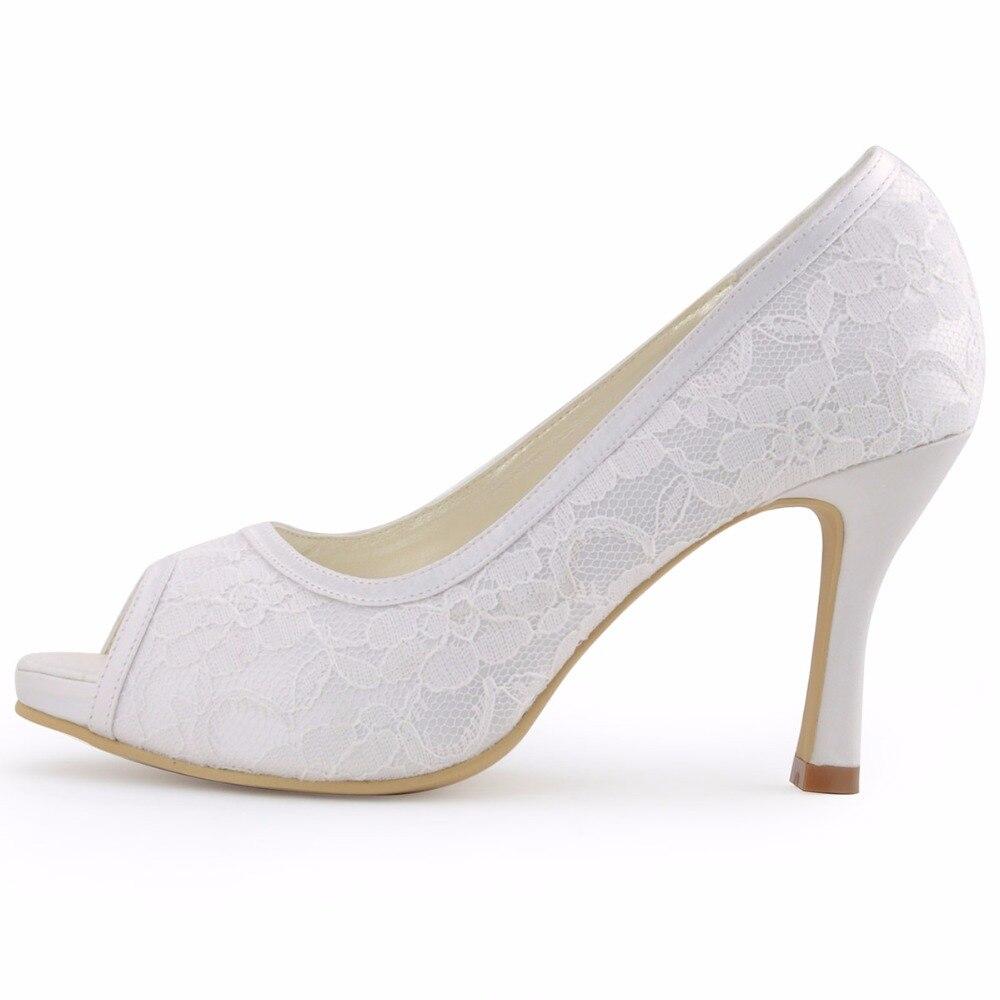 여자 신발 014 ip 화이트 아이 보 리 레이스 신발 높은 뒤꿈치 펌프 여성 결혼식 신발 신부 편안한 신부 발 뒤꿈치 플랫폼-에서여성용 펌프부터 신발 의  그룹 2