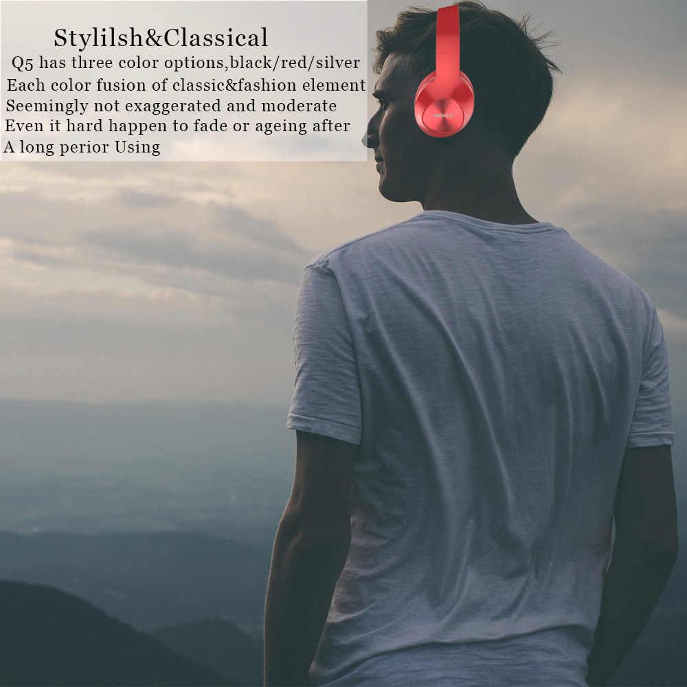 Bingle Q5 składany z redukcją szumów BT 4.1 nad głową telefony głowy Stereo bezprzewodowe słuchawki Bluetooth Casques dla Audio, Studio, telewizor z dostępem do kanałów