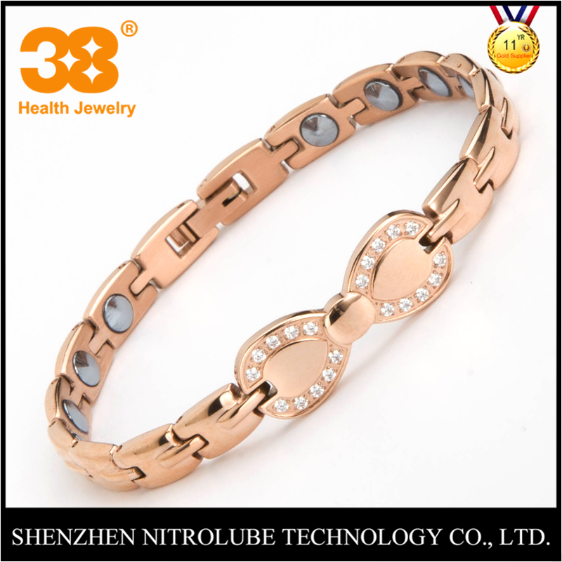38 Women Men Health Care Charm Bracelet Full Pure 99.9% Germanium 316L Stainless Steel Rose Gold Color Bracelets Bangles Jewelry 38 fashion health magnet charm bracelet full pure 99 9