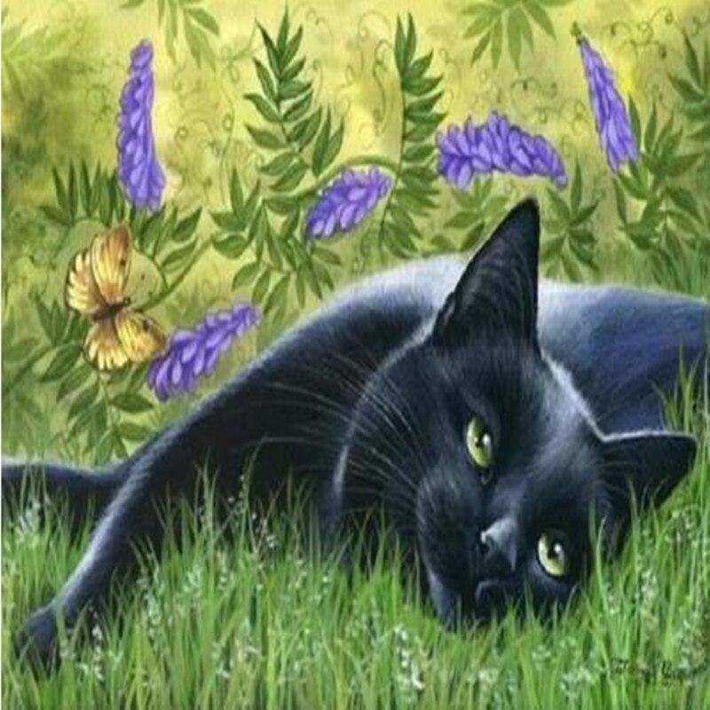 YIKELA Diy 5d Diamond Painting,Diamond Embroidery Animal,Full Square Diamond,Diamond Painting Cat