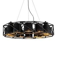 Современные 16 головы привело подвесной светильник bjornled Dia.75cm творческий окрашенные Iron Body черный абажур подвесной светильник вилла лампы