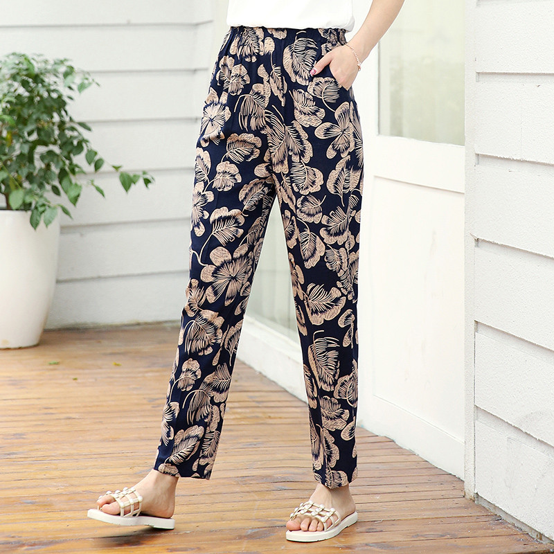 22 Colors 2019 Women Summer Casual Pencil Pants XL 5XL Plus Size High Waist Pants Printed Elastic Waist Middle Aged Women Pants-in Pants & Capris from Women's Clothing
