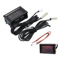 5 pz Rosso + Blu Dual Display Digit Termometro Impermeabile Termometro In Metallo Sonda Sensore-20 ~ 100 Gradi Celsius LED Misuratore di temperatura NTC