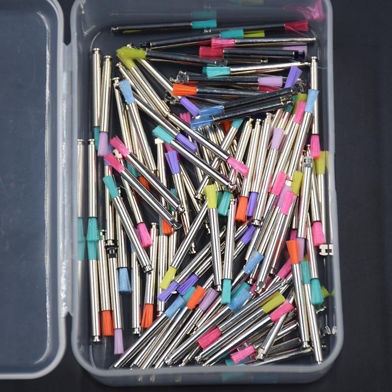100 Pcs Dental Prophy Latch Flat Stick Shape Prophylaxis Polishing Nylon Polish Brush Cup Color Mixed Metal Shank