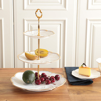 double layers 3 layers white Cake Stand with gold rim cake plate snack dish tableware dessert plate wedding gift