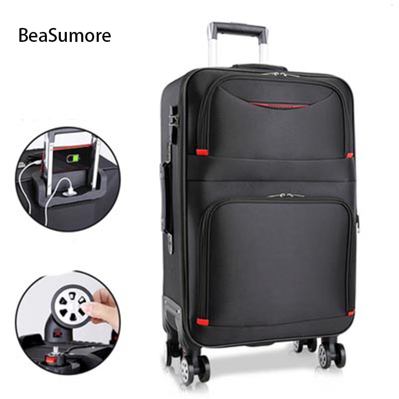 BeaSumore UPS Chargeable Rolling Luggage Spinner 28 Inch Women High Capacity Password Trolley Men Business Suitcase Wheels