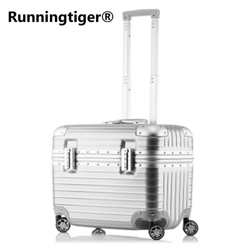 Haut à la mode D'affaires Voyage Bagages Valise en aluminium 18 Pouces Ordinateur boîtier de chariot de PC D'ABS de Valise de Fileur D'embarquement Boîtes