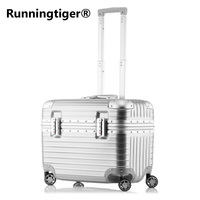 Top Fashion Business Travel Rolling Luggage Aluminum Suitcase 18 Inch Computer Trolley Case ABS PC Valise Spinner Boarding Boxes