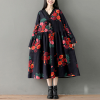 Robe 50s Style Oversize Women Long Sleeve Floral Print Cotton Linen Dress Autumn Spring New V Neck High Waist Pleated Design