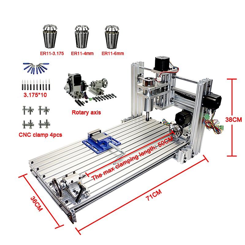 CNC routeur mini bricolage machine cnc 3060 port usb Fraisage machine à graver 6030 avec Mach3 ER11 collet outils kit
