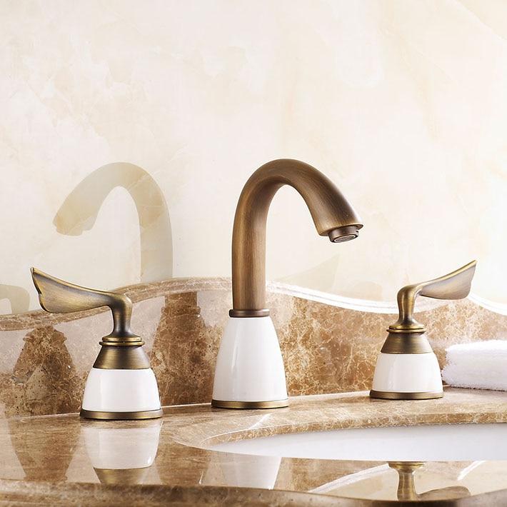 Roman 8 Widespread 3pcs Two Handles three holes Vanity Basin Faucet Bathroom Sink Mixer Tap